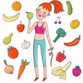 image of fruits vegetables  - Healthy lifestyle - JPG