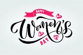 Happy Womens Day Text As International Womens Day Badge, Tag And Icon poster