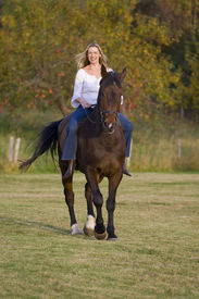 foto of bareback  - An attractive young woman riding a horse bareback during the fall with an apple orchard in the background - JPG