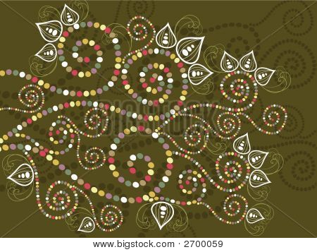 Bohemian Ethnic Floral Curves Abstract (Vector)