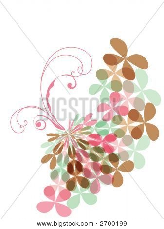 Sweet Pink Pastel Clover Butterfly Swirl (Vector)