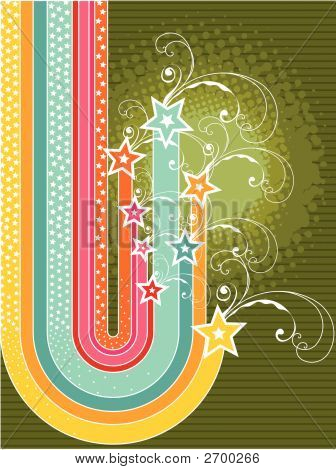 Retro Grunge Rainbow Stripes Stars And Swirls (Vector)