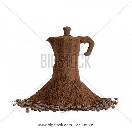 Coffee maker over coffee dust and grains.