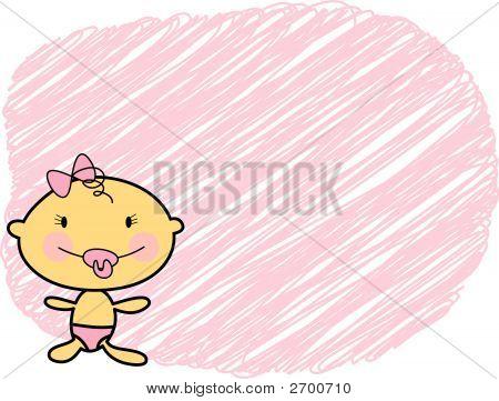 Cartoon Fair Skin Baby Girl With Scribble Background (Vector)