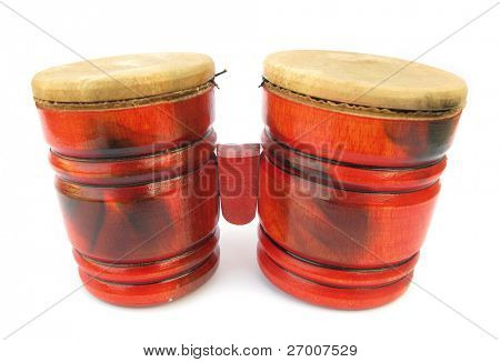 Wooden red drums Congas