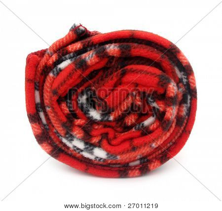 Blanket rug red rolled