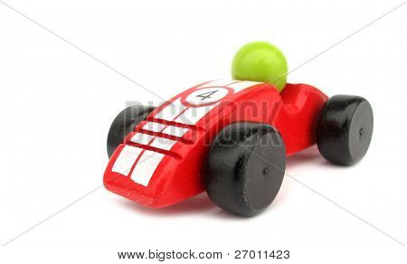 Wooden toy red race car