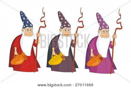 Sorcerer magician vector illustration cartoon