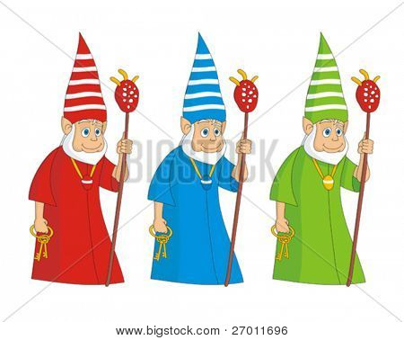 Shaman with magical stick cartoon vector illustration