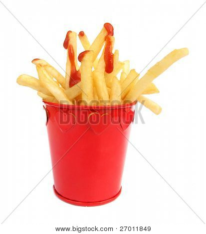 French fries potatoes and tomato ketchup in red box with hearts