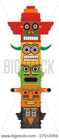 Ilustração em vetor de Indian Totem pole