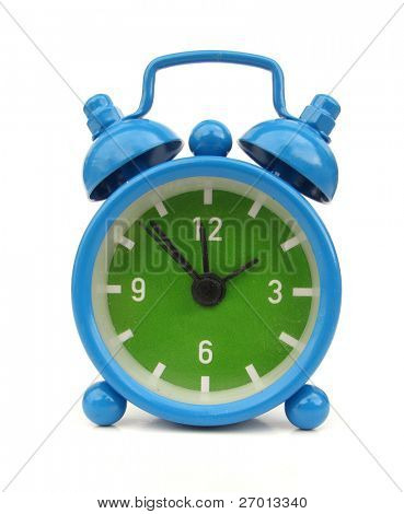 Blue alarm clock with two bells vintage