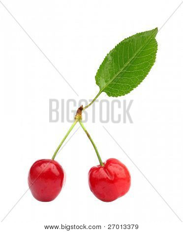 Cherries with green leaf