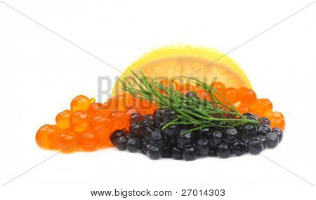 Black and red caviar salmon roe