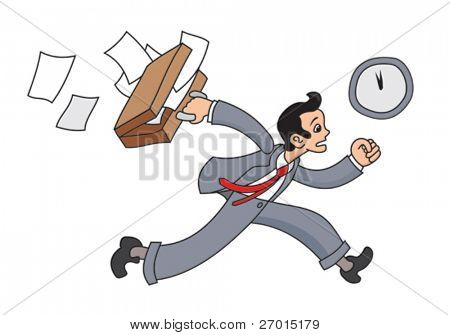 Business man is running with suitcase and papers