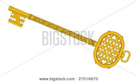 Old golden key vector illustration