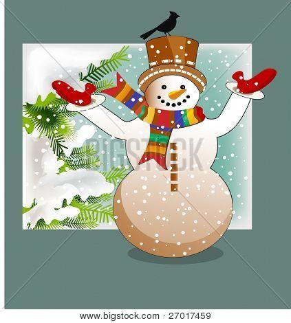Snowman with bird