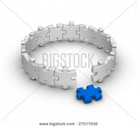 grau-Puzzles mit einem roten Stück