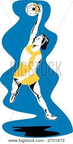 Netball Player Jumping For Ball