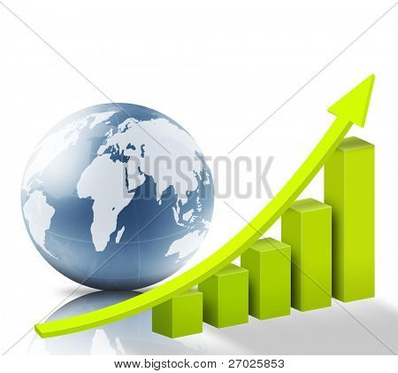 Globe and business graph