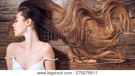 poster of Beauty Hair Salon. Woman With Long Beautiful Hair. Fashion Haircut. Beauty Girl With Long And Shiny