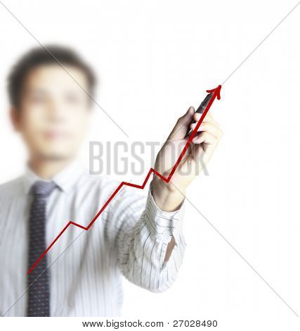 Male hand drawing a graph on white background