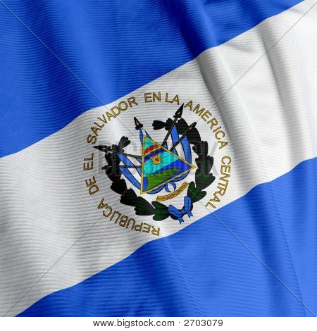 El Salvador Flag Closeup