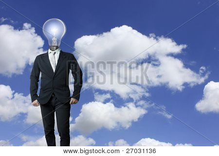 Businessman , light bulb head