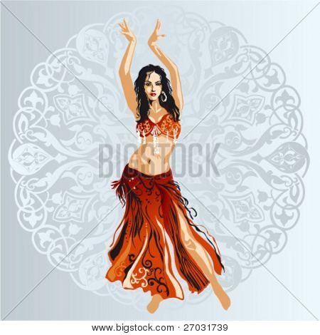 Bellydancer With Ornamental Background