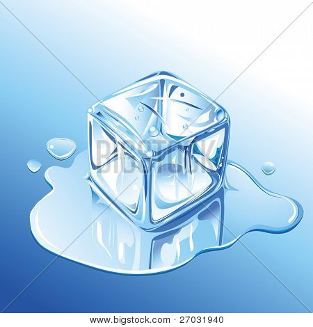 Melting Blue Ice Cube, raster version