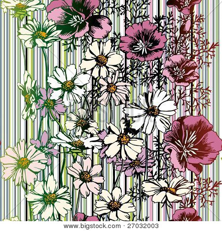 Seamless Flower Pattern, raster version