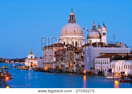 Santa Maria Della Salute, Church of Health in dusk twilight at Grand canal Venice Italy
