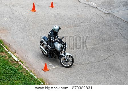 Man Is Practicing Driving A