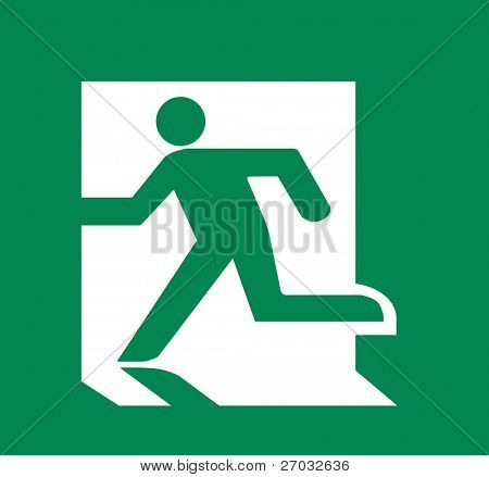 Symbol of Fire Emergency Exit Sign isolated on Green Head Left