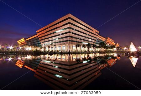 BANGKOK, THAILAND-SEP 25: Landscape of Government Complex Building shines at Dusk on Sep 25.2010 in Bangkok. Government Complex has 34 government units located at Chaeng Wattana Street in Bangkok.