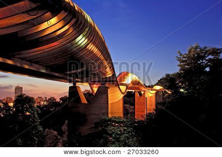 Singapore Henderson wave bridge shine at dusk