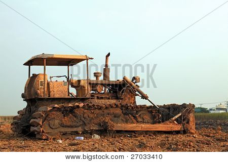 construction bulldozer on sandpit