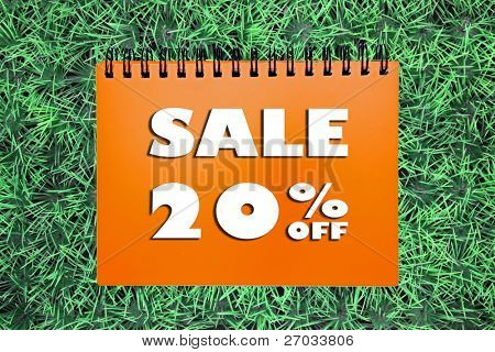 20% Sale sign on grass background