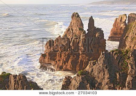 part of pancake rock canyon of West coast, New Zealand