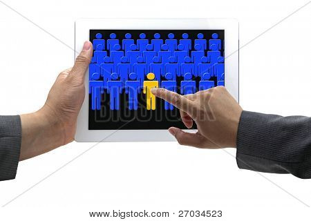 asian Businessman hand choosing person from touch screen pad in electronic recruitment process
