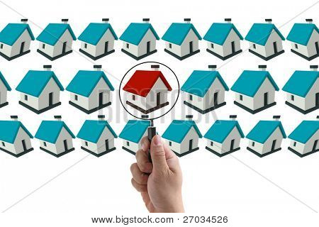 man hand finding house in real estate market
