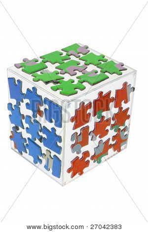 Cube with Jigsaw Puzzle Pieces