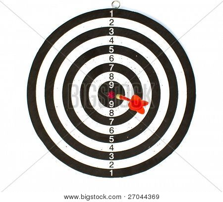Dartboard with red Dart isolated on white background