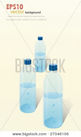 Three Plastic bottle of water. Vector background