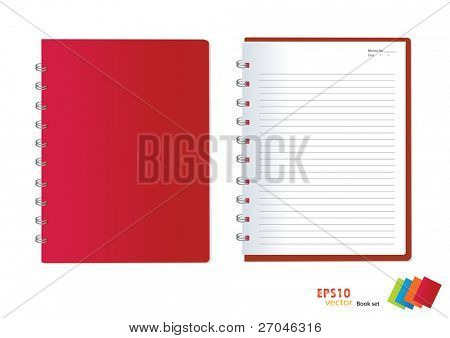 Photo of Red notebook (blank paper). Vector illustration.