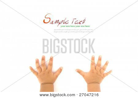 Hands of Crawling Baby on white background with copy space.