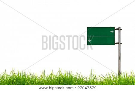 Green Traffic sign on grass