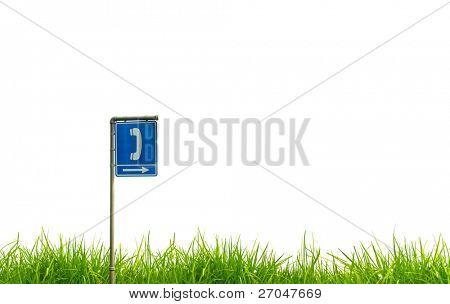 Traffic sign on green grass.