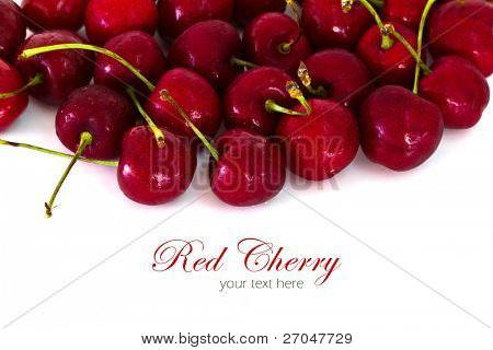 Sweet cherries isolated on white background with copy space.