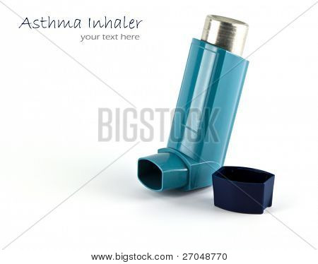 Asthma inhaler isolated on a white background.